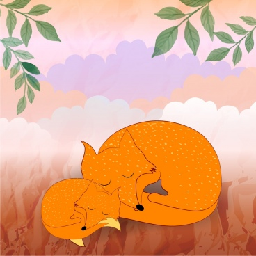 wild foxes background cute motherhood style cartoon style