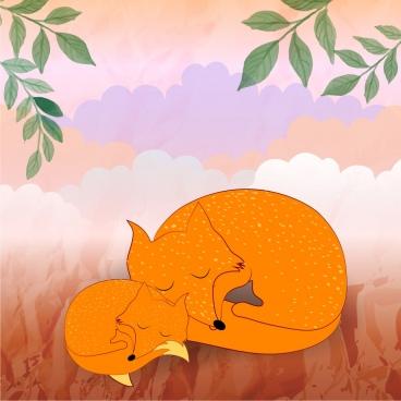 wild foxes background cute motherhood style cartoon style