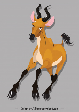 wild herbivore species icon antelope sketch cartoon character