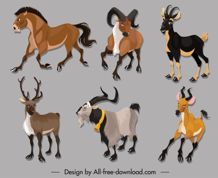 wild herbivore species icons cartoon sketch