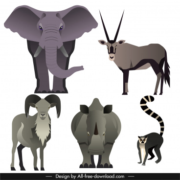 wild herbivores animals icons dark grey decor