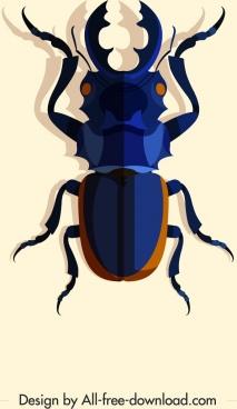 wild insect icon dark blue 3d design