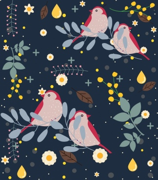 wild life background birds flowers decoration cartoon design