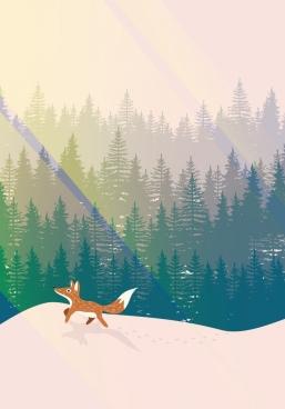 wild life background fox fir tree icons decoration