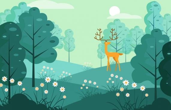 wild life background reindeer grassland icons cartoon design