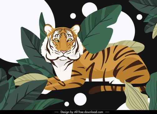 wild life background tiger leaves sketch