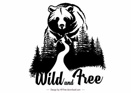 wild life banner bear forest sketch black white classic