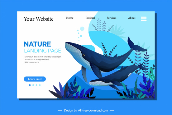wild life homepage template whale species decor