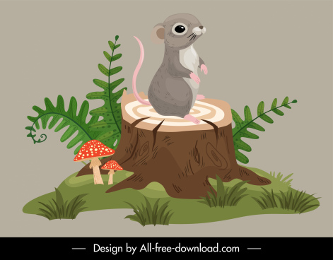 wild life icon cute small mouse cartoon sketch