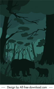 wild life painting bears jungle sketch dark design