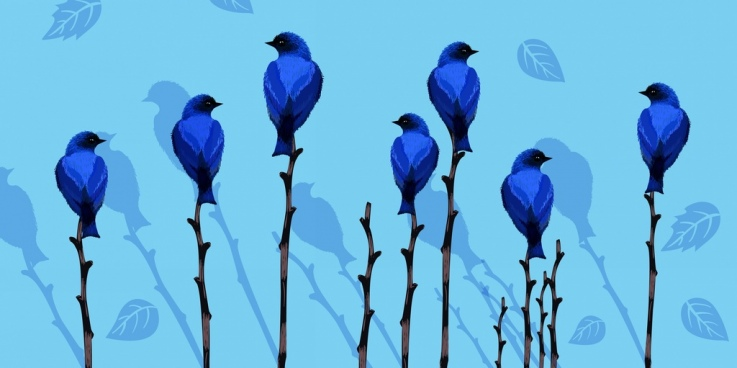 wild life painting blue decor birds trees icons