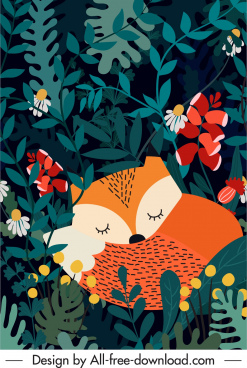 wild life painting sleeping fox forest sketch