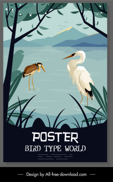 wild life poster stork species sketch colorful classic