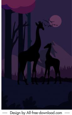 wild life scene painting night time sketch