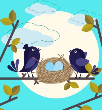 wild nature background bird nest icon colored cartoon