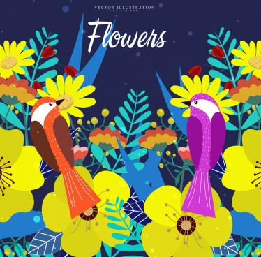 wild nature background blooming flowers birds icons