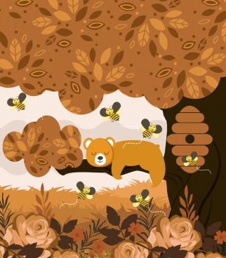 wild nature background brown design bear bees icons