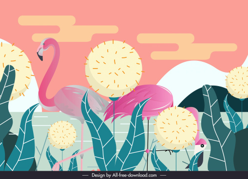 wild nature background flamingo dandelion sketch