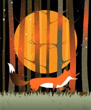wild nature background fox round moon icons