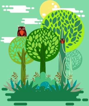 wild nature background green trees owls icons