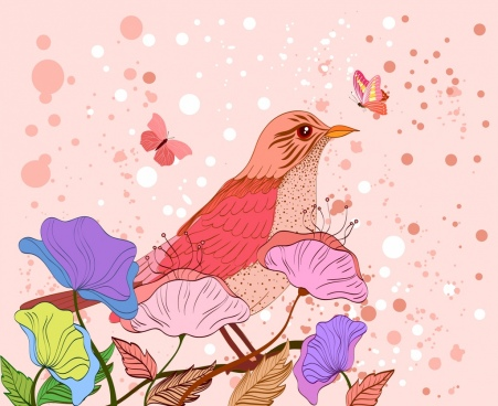 wild nature background pink bird butterfly leaves icons