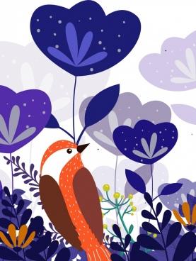 wild nature background purple flower bird icons decor
