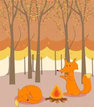 wild nature background stylized fox icons cartoon decoration