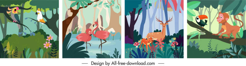 wild nature background templates colorful classic design