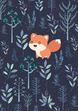 wild nature background trees fox icons cartoon design