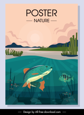 wild nature banner fish school sketch colorful classic