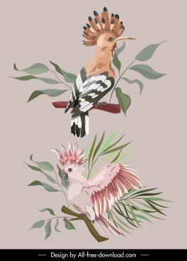 wild nature design elements perching birds sketch