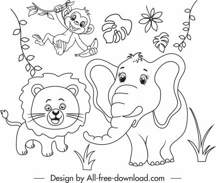 wild nature drawing cute animals handdrawn cartoon sketch