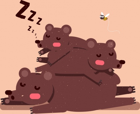 wild nature drawing cute sleeping bears icons