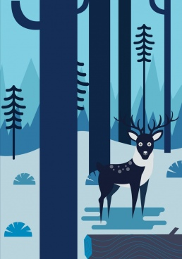 wild nature drawing dark blue landscape reindeer icon