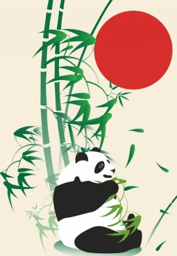 wild nature drawing panda bamboo red sun decoration