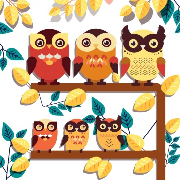 wild nature drawing perching owl leaves icons