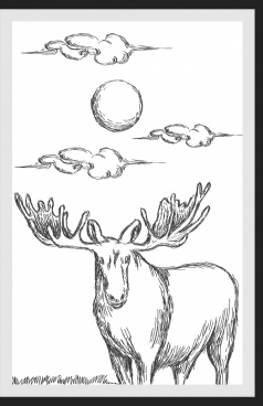 wild nature drawing reindeer sun cloud handdrawn sketch