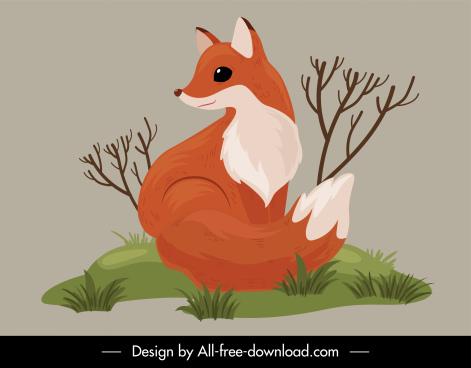wild nature icon cute fox sketch handdrawn retro