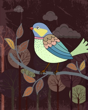 wild nature painting bird tree icons grungy retro