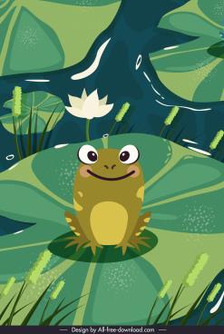 wild nature painting cute frog lotus pond sketch