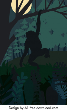 wild nature painting dark night monkey sketch