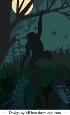 wild nature painting dark night monkey sketch