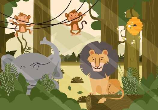 wild nature painting forest animals icons cartoon design