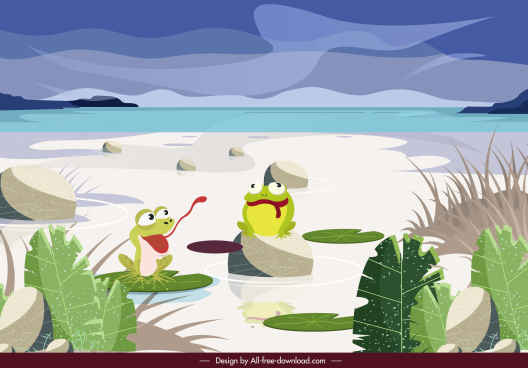 wild nature painting frogs sketch funny cartoon design