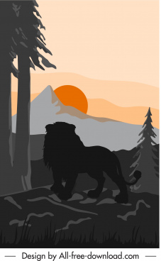 wild nature painting lion mountain sketch dark silhouette
