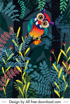 wild nature painting owl jungle sketch colorful cartoon