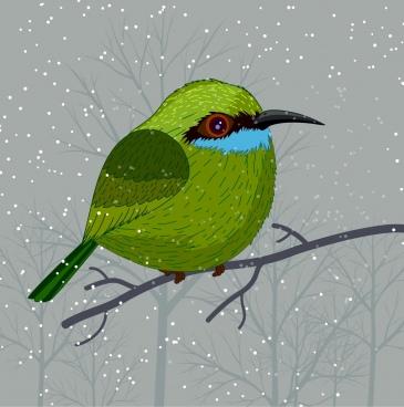 wild nature painting perching bird snow icons
