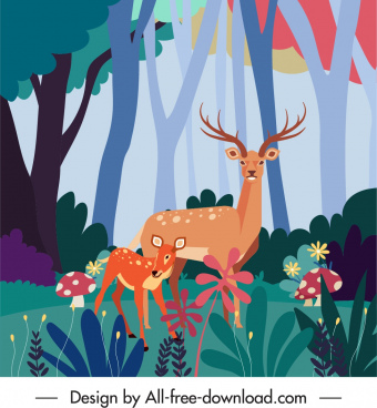 wild nature painting reindeers colorful plants sketch