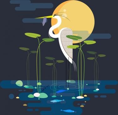wild nature painting stork fish pond moonlight icons