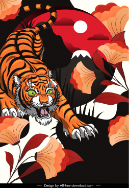 wild nature painting tiger flora sketch colorful classic